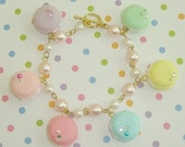 RAINBOW DREAMS Ltd Ed Handmade Pastel French Macaroon Faux Whipped Cream Pearl Link Chain Bracelet