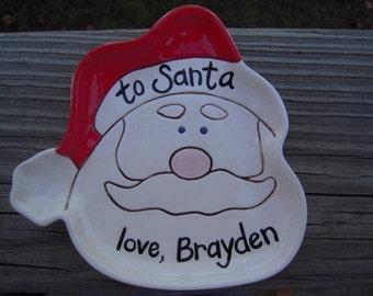 Personalized - Santa Cookie Dish - cookies for santa