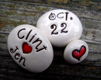 Love stones, personalized clay Love Stones, wedding date, gift for couple - FREE SHIPPING