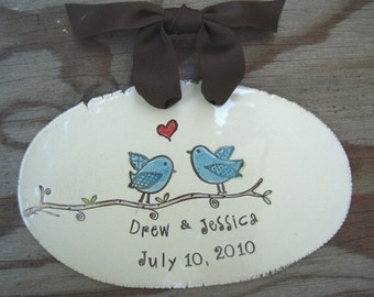 Personalized wedding plaque, Mr and Mrs, newlywed gift, bridal shower gift, love Birds,  personalized wedding gift, engagement gift