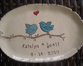 Ceramic wedding dish Love Birds personalized wedding plate Wedding gift engagement gift bridal shower gift anniversary keepsake ring bearer