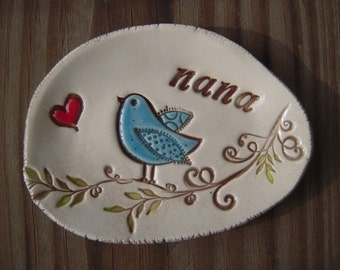 Ceramic bluebird dish, gift for nana, gift for mimi, grandmother gift, personalized clay dish, gift for women, gift for mom, ring dish