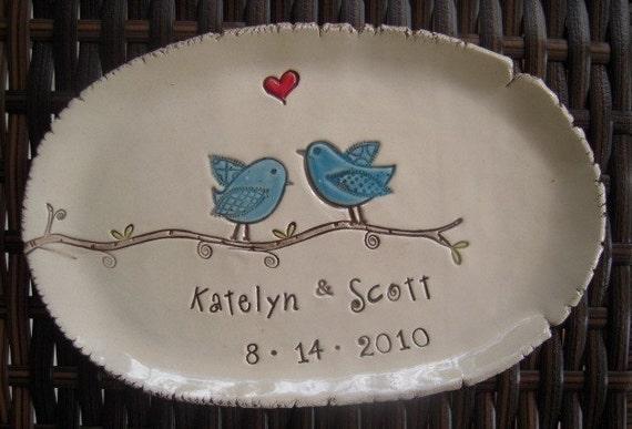 Ceramic wedding dish Love Birds personalized wedding plate Wedding gift engagement gift bridal shower gift anniversary keepsake ring bearer