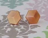 Brown Hexagon Button Studs