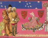 Original Collage, Collage Art, Wood Panel, Medieval and Renaissance Images, Pink, Chivalry, Medieval Lady, CLEARANCE!