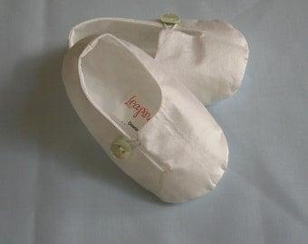 Christening button Shoes  - Silk or linen