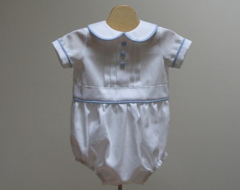 Boy Christening Rompers with Blue gingham trim  - preemie, new born, 3 month, 6 month, 9 month