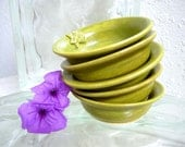 Honey Bee Bowls Set of Five Condiment  Bowls Handcrafted Stoneware Pottery Golden Green Chartreuse Apiary