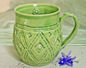 Coffee Cup Oversized Mug Green French Country Flower Stamped One-of-a-Kind For Her Large Elegant Cup, Shabby Chic Pottery