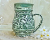 Handmade Ceramic Coffee Cup Mug  Indian Stamps and Swirls Forest Green One of a Kind Design Wheel Thrown