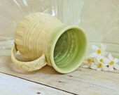 Ceramic Coffee Cup Yellow Green Handmade Stoneware Pottery French Country  One-of-a-Kind Shabby Chic Mothers Day