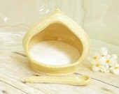 French Salt Pig Handcrafted Spoon Pastel Lemon Yellow Salt Cellar Ceramic Stoneware Pottery For Gourmet Cook Or Kitchen