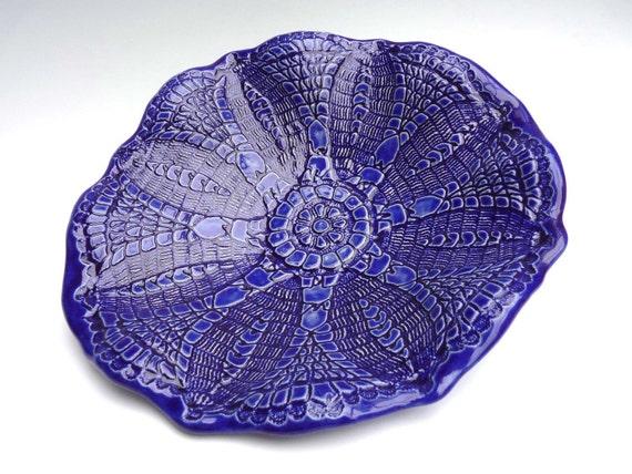 Lace Bowl  Beautiful Oblong Handcrafted Stoneware Dish Unique  Antique Pineapple Lace Tatting Design  Rich Blue Cobalt  Color