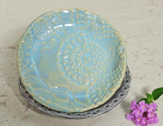 Trinket Dish Lace Doily Ring Catcher Jewelry Holder Sky Blue