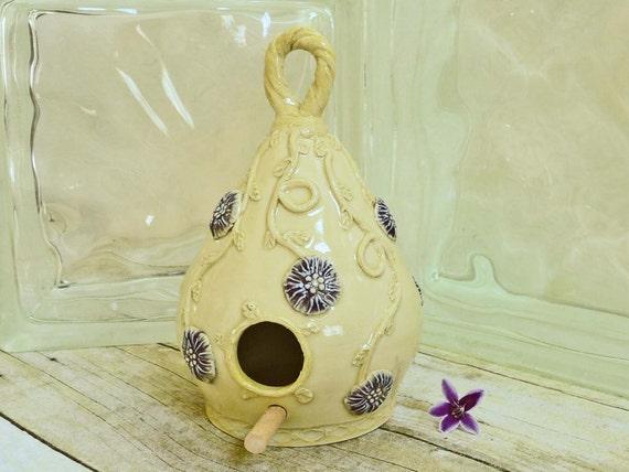 Hand Decorated Ceramic Birdhouse Garden Art
