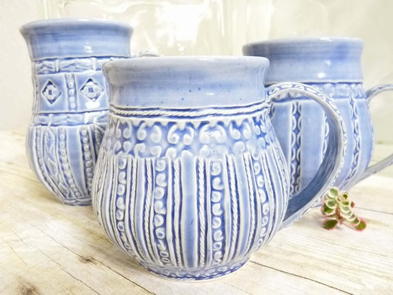 Coffee Cup Mug Stoneware Pottery Blue Pinstripe Design Stamped Quilted Design One-of-a-Kind For Her Large Elegant Cup, Shabby Chic