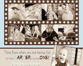 Custom Photo Card Collage, Baby boy first birthday invitation, Brown and Blue Dots