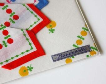 Set of Three Vintage Handkerchiefs Made In Germany  - Baumwolle - Original Packaging