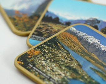 Scenic New Zealand Vintage Souvenir Coasters, Set of 3 South Island Scenes of Mt. Cook, Fox Glacier, and The Remarkables