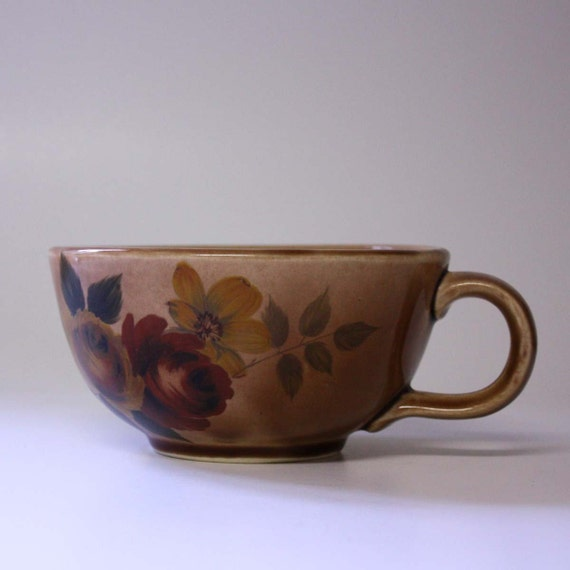 Vintage McCoy Large Floral Soup Cup in Brown with Roses