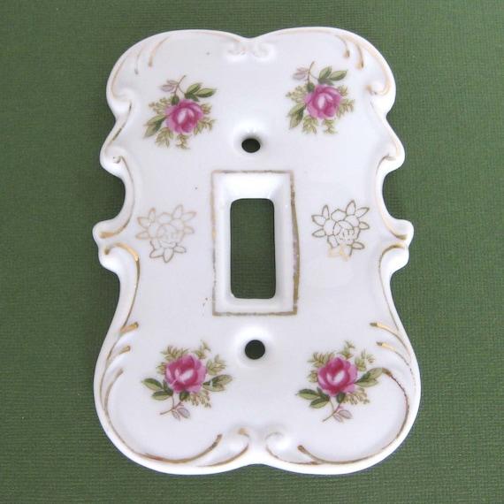 sale lefton porcelain switch plate cover with roses. Black Bedroom Furniture Sets. Home Design Ideas