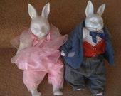 Antique Ceramic Bunny Rabbit dolls - ballerina/ men's three piece suit