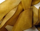 Caramel Hand Dyed Silk Ribbon - One and one half inches wide