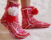 Red and White Pom-pom Woolen Slippers