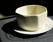 Vintage Pale Yellow Planter and Off White Plate an instant collection