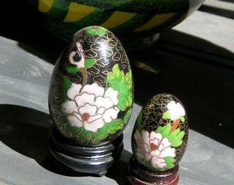 Vintage Cloisonne Easter Eggs on Dark Wooden Stands Two One Half Off Black Green White Cream Pink