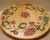 CUSTOM ORDER FOR JULIANN, DO NOT PURCHASE, ON SALE Hydrangea, Grapes, Lazy Susan, Wood, Hand Painted,