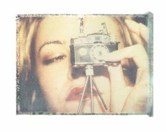 8x10 print of polaroid transfer- red lips,toy camera and the cutest tripod