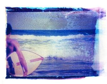 Polaroid Photography Beach Ocean Surf Vintage Art 8x10 Print
