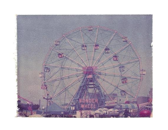 Coney Island Photograph Polaroid Ferris Wheel Brooklyn Wonder Wheel Vintage Art 11x14 Print