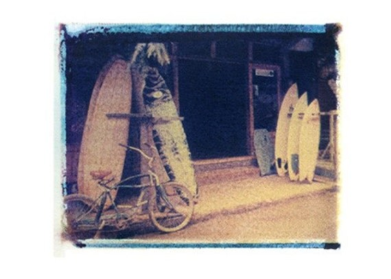 11x14 polaroid transfer of  surf shop-ecuador- signed by artist