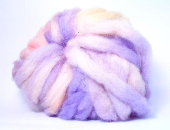 Locally Raised Romney Lamb's Wool Roving 4 oz Naturally Grown from Happy Sheep Purple, Yellow, Peach