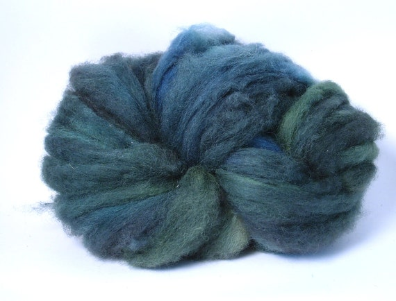 Locally Raised Romney Lambs Wool Roving 5.5 oz Naturally Grown from Happy Sheep Green, Blue, Teal