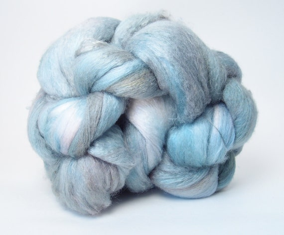 Merino Silk Spinning Fiber Combed Top Brick 4.5 ounces Blue, Teal, Copper, Turquoise