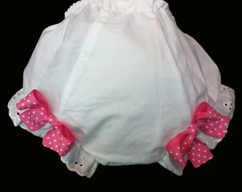 Blank Ruffle Bloomers With Bows - (without Bows avaliable for 4.99) - Diaper Covers