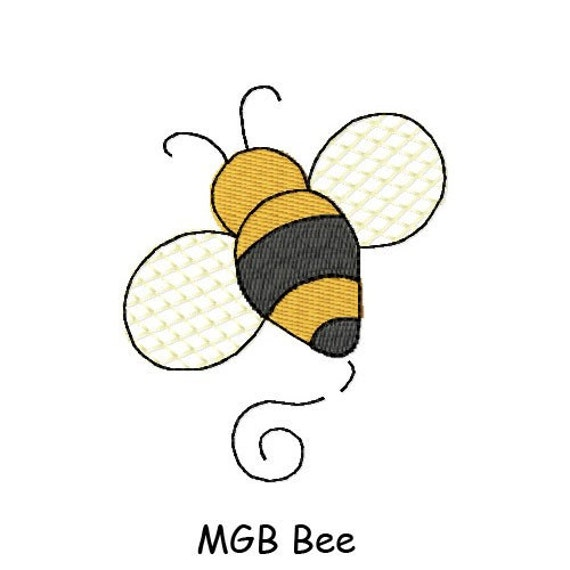 Bee mini gone big embroidery design by myglamboutique