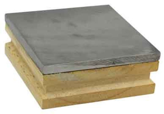 Steel Bench Block With Wood Base - 3 x 3 x 1 Inch