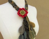 Enchanted Forest Flower Lariat-Red