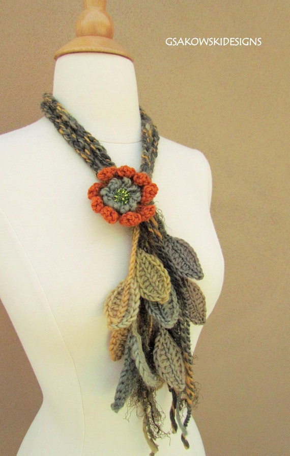 Enchanted Forest Flower Lariat-Rust