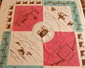 SALE Vintage 50s Arizona Tablecloth Pink Aqua Blue Steer Cowboy Grand Canyon Rods Steakhouse