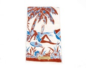 Vintage 50s Dish Towel Beach Swimsuit Girl Sombrero Palm Tree Linen
