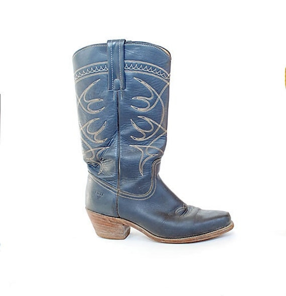 Vintage 70s 80s Blue FRYE Western Boots 8.5 Stacked Wooden Heel Contrast Stitching