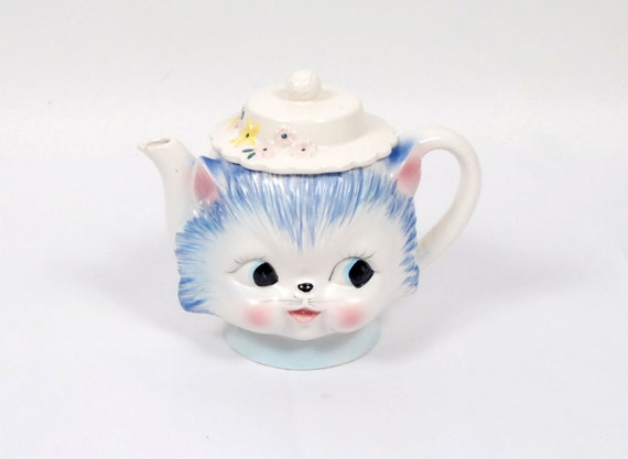 Vintage 50s Kitty Cat Teapot Pitcher Miss Priss Fenton Pink Blue