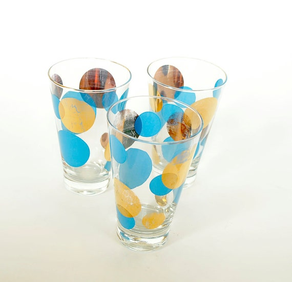 SALE Vintage 50s Russel Wright High Ball Glasses Tumblers Gold Blue Polka Dot Eames Era Eclipse