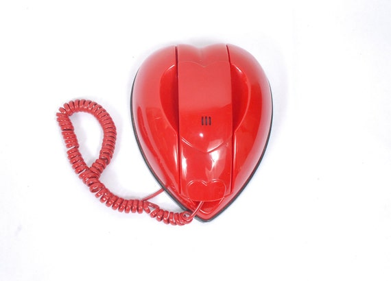 Vintage 80s Red Heart Telephone Phone Valentines with Sexy Photo