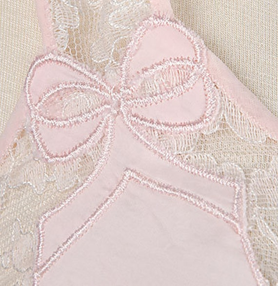 Vintage 50s Pink Full Slip with White Lace and Embroidered Ribbons Barbizon